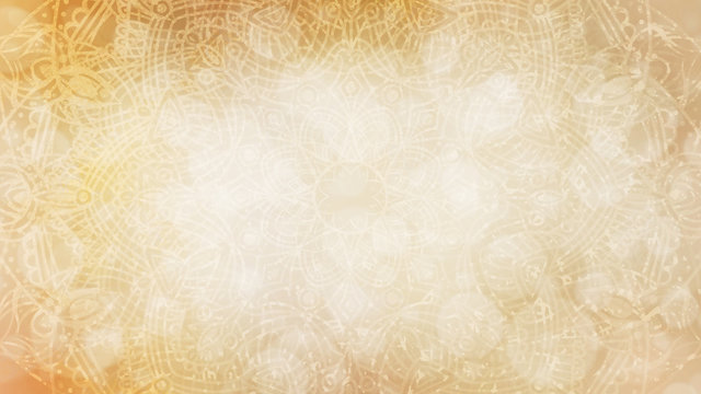 Soft pastel earthy, organic, golden yellow beige textured bokeh background with mandala
