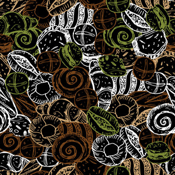 Vector black chalkboard style hand drawn bakery overlapping breads seamless repeat pattern. Suitable for textile, cafe menu design and wallpaper.