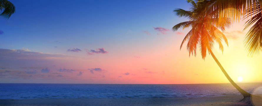 Art beautiful Landscape of paradise tropical island beach, sunrise shot