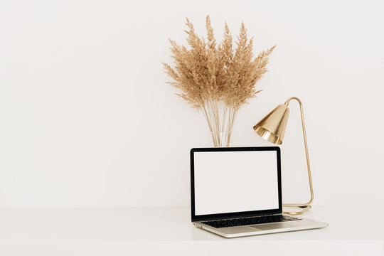 Laptop with blank copy space screen on white table with golden lamp and pampas grass / reeds bouquet. Minimalist home office workspace. Mockup template.