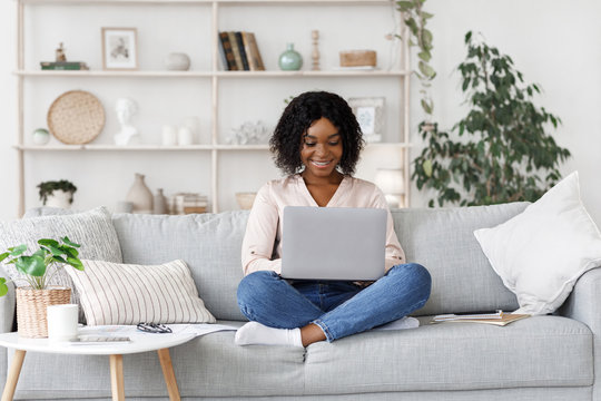 Remote Work. Millennial african american woman working on laptop at home