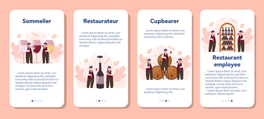 Sommelier mobile application banner set. Man with a bottle of grape