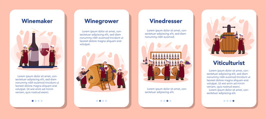 Wine maker mobile application banner set. Man wearing his apron