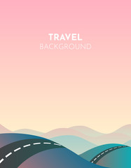 Road cartoon mountains, great design for any purposes. Travel landscape illustration. Road through mountains. Spring season. Nature landscape. Adventure travel. Rural scene. Road trip. Game design