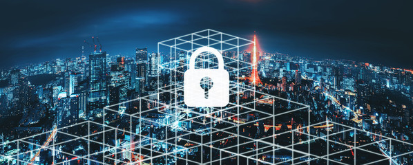 Wall Mural - Cyber security network city