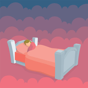 Sleeping woman in bed with clouds on background. Female peacefully resting in her bad. Good night sleep concept metaphor.  Part of set.