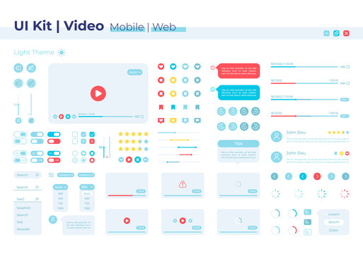Video player UI elements kit. Volume options. Multimedia control isolated vector icon, bar and dashboard template. Web design widget collection for mobile application with light theme interface
