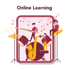Online music learning. Young performer playing music