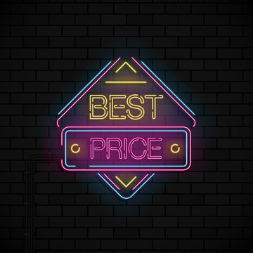 Neon offer template for discount and best price on black bricks background. Neon blue and pink and yellow. Vector.