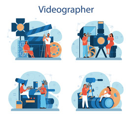 Video production or videographer concept set. Movie and cinema