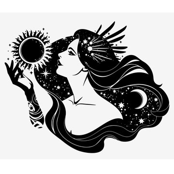 image of the esoteric goddess of the night; contour, without filling