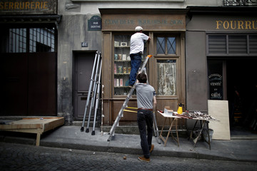 "Cinema decorators work on scenography for ""Adieu Monsieur Haffmann"", as the shooting will resume following the outbreak of the coronavirus disease (COVID-19) in Paris"