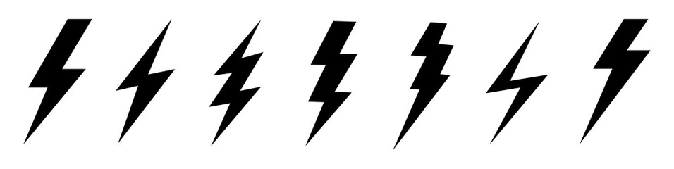 Lightning bolt icon. Vector lightning logo electric, set of thunder and lightning . Lightning bolt signs, icons isolated over white background Wall mural