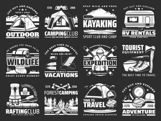 Sport, travel and active leisure vector icons. Hiking and camping tools, ski and mat, travel trailer and tent, axe and boat, backpack and rafting equipment. Kayaking sport, campfire and rv van rent