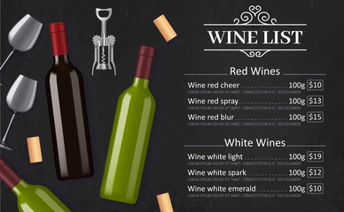 Wine list vector menu template of red and white grape alcohol drinks. Bottles, glasses, corks and corkscrew on black chalkboard background with vintage vignette. Winery, restaurant or bar wine list