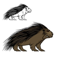 Porcupine or hedgehog vector mascot animal. Wild forest mammal with sharp spines or quills, brown fur, red eyes and angry grin. Predatory rodent sport team label or hunter club, porcupine emblem