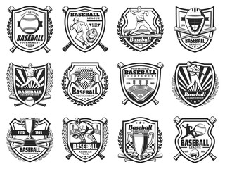 Baseball sport and players vector icons. Sports team club badges or league tournament monochrome signs. Baseball or softball game championship trophy, player bat and ball with helmet and equipment