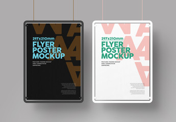 Hanging Black and White Frame Flyer Mockup