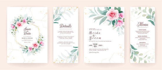 Set of wedding invitation template with floral frame, border, and gold geometric glitter. Flowers composition vector for save the date, greeting, details, menu, etc