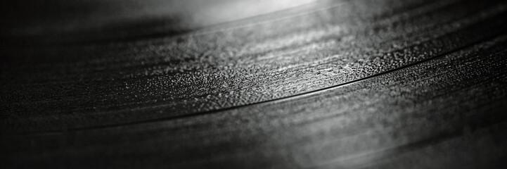 Black vinyl record macro shot. Panoramic background Wall mural