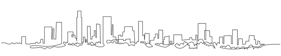 Modern cityscape continuous one line vector drawing. Metropolis architecture panoramic landscape. New York skyscrapers hand drawn silhouette. Apartment buildings isolated minimalistic illustration Fototapete