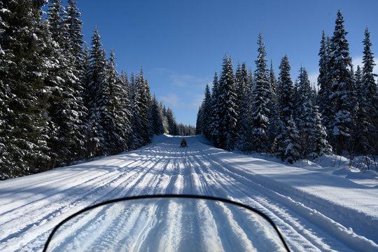 Snowmobiles along a snow covered trail, Sun Peaks Resort, Sun Peaks, British Columbia, Canada
