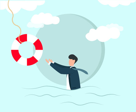 Insurance and financial aid to small companies. Businessman reaching for life saver, vector illustration in flat style