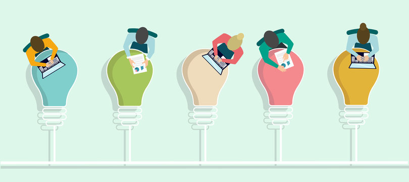 Top view of office employees working at tables shaped as light bulbs, vector illustration in flat style