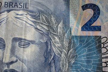 close up of brazilian money. Two reais.