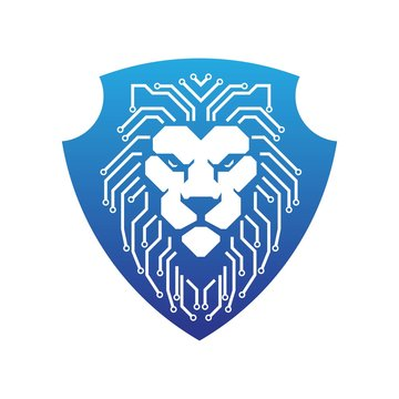 futuristic lion head tech shield logo illustration template