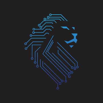 futuristic lion head tech sircuit board style logo illustration