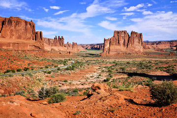 View over Arches National Park, with the Three Gossips and Organ rock formations, Utah, USA