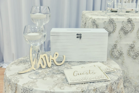 Close up of wedding guest book