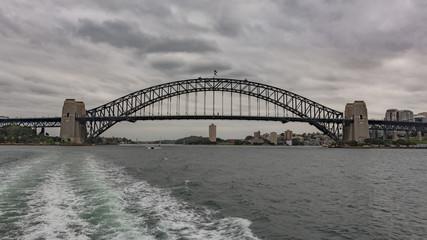 Fotobehang Sydney View Of Suspension Bridge Against Cloudy Sky