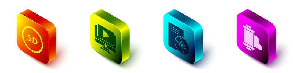 Set Isometric 5d virtual reality, Online play video, CD or DVD disk and Camera vintage film roll cartridge icon. Vector.