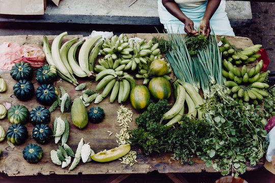 Variation of green vegetables  at a local food marked in Mahe, Seychelles.