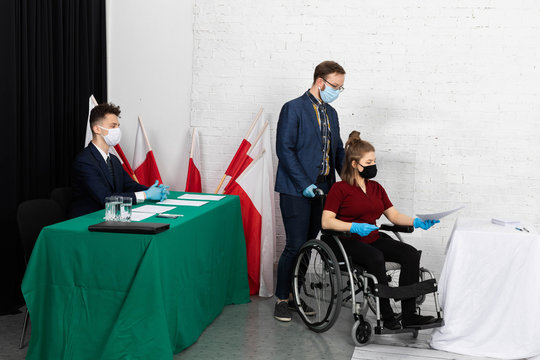 A young adult in a wheelchair came to the polling station to vote for president in the elections in Poland.