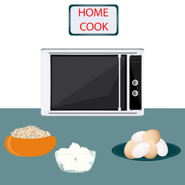 Microwave - eggs, porridge, cottage cheese - vector. Cook together. Exclusive dishes. Gourmet. Home cook. Online kitchen.