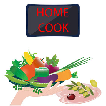Dish with fresh vegetables, meat - vector. Cook together. Exclusive dishes. Gourmet. Home cook. Online kitchen.