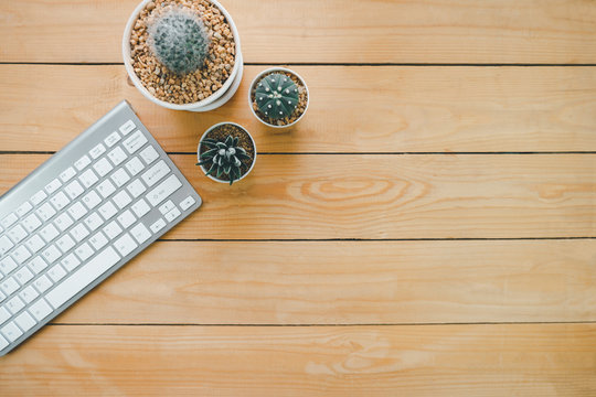 Silver wireless keyboard and three cactus plants in a white pot on a wooden table, Space for putting advertising messages or product presentations, work from home, business  technology concept