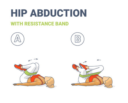 Hips Abduction with Resistance Band Girl Exercise Illustration Colorful Concept .