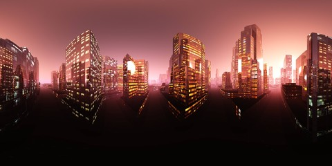 Wall Mural - Night city. HDRI . equidistant projection. Spherical panorama. panorama 360. environment map, 3D rendering