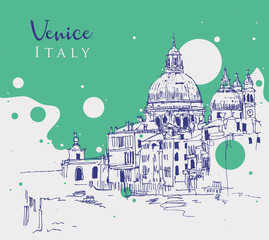 Drawing sketch illustration of Venice, Italy