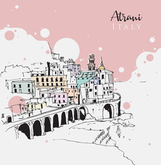 Drawing sketch illustration of Atrani, Italy