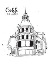 Drawing sketch illustration of Cobh, Ireland