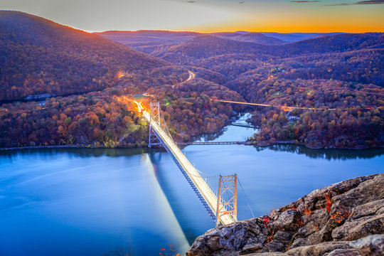 The Bear Mountain Bridge, ceremonially named the Purple Heart Veterans Memorial Bridge, is a toll suspension bridge in New York State.