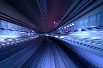 abstract motion blurred long exposure train, Futuristic background.