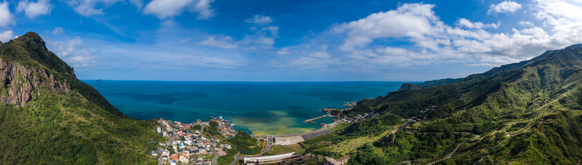 Panorama view of  Ruifang town and Yin and Yang Sea in New Taipei city, Taiwan.