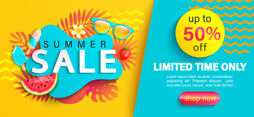 Summer big Sale banner, up to 50 percent limited time discount, promotion,hot season promo with tropical leaves,watermelon,ice cream on geometric background for shopping, special offer card.Vector