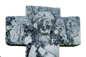 Fotomurales - Very old and ancient stone statue of angel on cross as symbol of Christianity, death and resurrection of Jesus Christ.